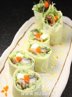 創意料理,海鮮食譜-日式潤皮餅(?) 即席鰻魚&乳酪春卷